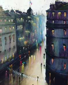 Rainy day in big city. Somewhere in France. Oil