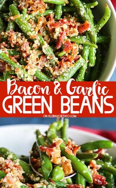 Bacon & Garlic Green Beans, a side dish recipe that's easy enough to enjoy with weeknight dinners & perfect for Easter, Thanksgiving & Christmas dinners too. dinner sides Bacon & Garlic Green Beans - Kleinworth & Co Easter Side Dishes, Veggie Side Dishes, Healthy Side Dishes, Side Dishes Easy, Side Dish Recipes, Food Dishes, Dishes Recipes, Healthy Dinner Sides, Christmas Vegetable Side Dishes