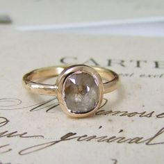 A lovely handmade rose cut diamond ring set in rose gold by Alexis Dove. This beautiful unique ring is set with a beautiful soft faceted rose cut diamond Bespoke Jewellery, Contemporary Jewellery, Ruby Wedding, Wedding Rings, Gold Rings, Gemstone Rings, Commitment Rings, Unusual Engagement Rings, Conflict Free Diamonds