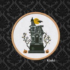 Cross stitch pattern Halloween House books Instant Download PDF