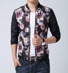 Men's casual #floral pattern printed long sleeve zip cotton #jacket. stand collar, Side pockets, Zip closure.