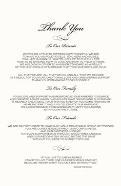A Message From The Bride And Groom To Their Parents Wedding