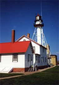 Whitefish Point Lighthouse Overlooking Whitefish Bay on Lake Superior.  AKA The Graveyard of the Great Lakes.