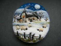 Handmade needle felted brooch/Gift      Snowdrop Cottage       by Tracey  Dunn: