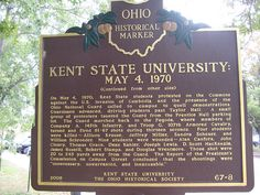 Kent State University - Ohio Historical Society Marker about Shootings on 5/4/1970