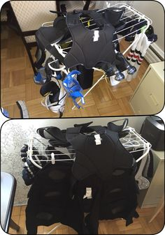 IKEA $8 clothes drying rack and some s-hooks and clothes pins - using to