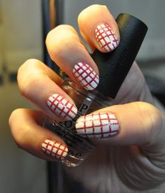 Pink and White Striping Tape Manicure