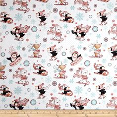 Peppermint Penguin Skiing & Sledding White from @fabricdotcom  Designed by Lucie Crovatto for StudioE Fabrics, this cotton print fabric is perfect for quilting, apparel and home decor accents. Colors include white, shades of teal and red.