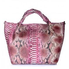 Bolso de mano de piel de serpiente piton en color rosa www.sanci.es