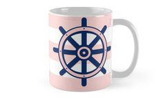 Features wraparound prints. Dishwasher safe.   Made from Ceramic. |   Illustration of a ship helm wheel on a pink and stripped background. © Amalia Ferreira-Espinoza www.afeimages. #illustration #nautical #pink