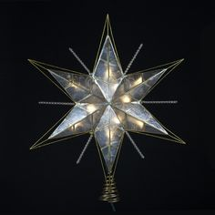 One Star Tree Topper 10-Lights Features Acrylic Bead Accents Gold Painted Finish Comes with 4 spare bulbs and 2 replacement fuses Indoor use only Made of Capiz Height: 15 inches