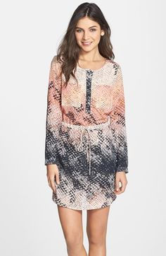 Charlie+Jade+Snake+Print+Long+Sleeve+Silk+Shirtdress+available+at+#Nordstrom