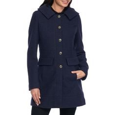 Guess Blue Button Front Walker Coat - Women's ($98) ❤ liked on Polyvore featuring outerwear, coats, blue, long sleeve coat, hooded coat, guess coats, blue coat and collar coat