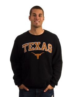 Texas Longhorns Mens Black Arch Mascot Crew Neck Sweatshirt, ON SALE!
