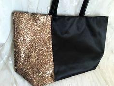 Ion Glitter Sparkles Satchel Tote Gold Rose Black Satin Fashionista Xmas Diva #ion #TotesShoppers