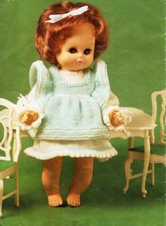 baby doll clothes knitting pattern PDF dolls dress pinafore outfit 9-16 inch doll 4ply fingering Instant Download by Minihobo on Etsy