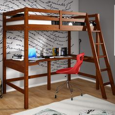 For EMily - Donco Kids Donco Kids Twin Loft Bed with Double Shelves
