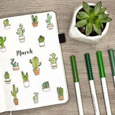 it's up y'all! ✨ my march plan with me + bullet journal setup is here and there are cacti involved. link in my bio!