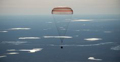 Expedition 50 Soyuz MS-02 Landing The Soyuz MS-02 spacecraft is seen as it lands with Expedition 50 Commander Shane Kimbrough of NASA and Flight Engineers Sergey Ryzhikov and Andrey Borisenko of Roscosmos near the town of Zhezkazgan Kazakhstan on Monday April 10 2017 (Kazakh time).