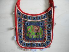 VINTAGE HANDBAG INDIAN COTTON HANDCRAFTED KANTHA EMBROIDERY PATCHWORK BAG