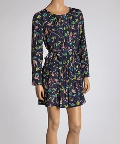 Take a look at this Reborn Collection Navy Bird Pleated Dress on zulily today!
