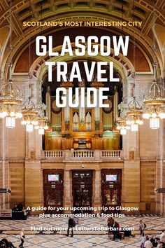 Glasgow is not as shiny as Edinburgh, but nonetheless is Scotland's most interesting city. A combination of impressive architecture and vibrant nightlife make Glasgow a must destination for a city-break. In this travel guide, you will find the best things to do in Glasgow plus loads of food and accommodation tips. #Glasgow #UK #travel #adventure #wanderlust #Scotland #traveltips #travelblog Scotland Travel Guide, Ireland Travel, Glasgow Uk, Edinburgh, London Travel, Travel Europe, See The World Quotes, Travel Guides, Travel Tips