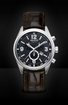 ADVOLAT VOYAGE Swiss Made Chronograph, Tachymeter, Stainless Steel Casing, Face black/grey, Leather Bracelet dark brown , Ref. 88006/2-L3 Saddle Leather, Grey Leather, Limited Edition Watches, Watches Online, Stainless Steel Case, Chronograph, Omega Watch, Rolex Watches, Black And Grey