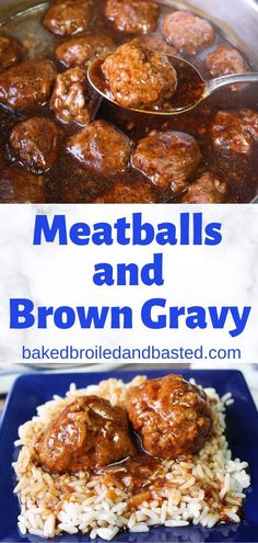 Meatballs and Brown Gravy - Easy Dinner Recipes - Fleisch Ground Meat Recipes, Crockpot Recipes, Cooking Recipes, Game Recipes, Chicken Recipes, Meatballs And Gravy, Mexican Meatballs, Meatballs And Rice, Asian Meatballs