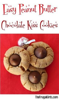 Easy Peanut Butter Chocolate Kiss Thumbprint Cookies Recipe! ~ from TheFrugalGirls.com ~ these sweet little Hershey Kiss Cookies are perfect for your holiday parties and Christmas Cookie Exchanges! Just 5 ingredients and no flour! They're simple to make and crazy delicious!! #recipes #thefrugalgirls