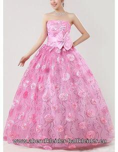 Rosa Ballkleid Online mit Blumen Brautkleid Farbig