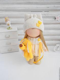 Купить Текстильная кукла -малышка.Алиса - желтый, текстильная кукла, интерьерная кукла
