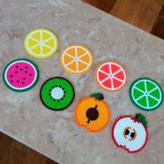 Hama beads - Set of 8 fruit-themed Perler bead coasters by jennionenote Hama Beads Design, Diy Perler Beads, Perler Bead Art, Pearler Beads, Hama Beads Coasters, Pearler Bead Patterns, Perler Patterns, Motifs Perler, Iron Beads