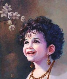 Lord Krishna, in his infant avatar. Kadam has tried to concentrate only on the facial expressions of the popular god, showing sweetness, tenderness, charm and serenity. Krishna Leela, Jai Shree Krishna, Krishna Radha, Hanuman, Little Krishna, Cute Krishna, Krishna Drawing, Krishna Painting, Lord Krishna Images