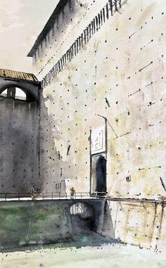 Castello sforzesco Italy - watercolor by Emmanuele Cammarano