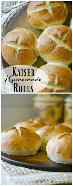 Homemade Kaiser Rolls! Great for burgers, sloppy joes and freeze super well! Bread recipes are way more easy than you may think! They are way cheaper to make too!