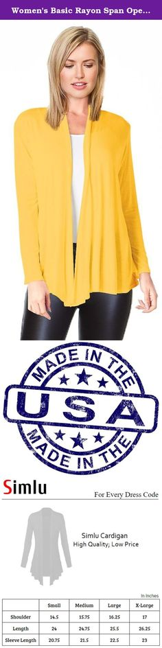 Women's Basic Rayon Span Open Drape Cardigan Sweater Long Sleeves - Made in USA Mustard Large Mustard Large. Simlu Womens Open Cardigan Join the Simlu Fashion Club These Sweater Cardigans for Women symbolize fashion and style. The loose fitting, flowing look has a slimming effect. Composed of the 95% Rayon, 5% Spandex for durable and comfortable wear; these open front cardigans for women are super stylish and come in a variety of colors and styles to choose from. They are trendy, pretty…