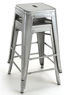 tabouret 24 inch metal counter stools set of 2
