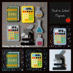 "Plastic Canvas: Back to School 2 Magnets, ""Ready, Set, Sew!"" by Evie -- Give that locker (or your fridge) an upgrade this school year. . .A+, that is! :)"