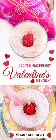 Best Coconut-Raspberry Valentine's Milkshake : recipes valentines milkshakes #Vegan glutenfree #Coconut #SmoothieSwag