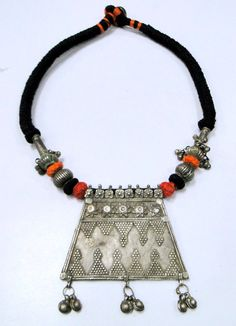 Antique ethnic tribal old silver necklace jewelry