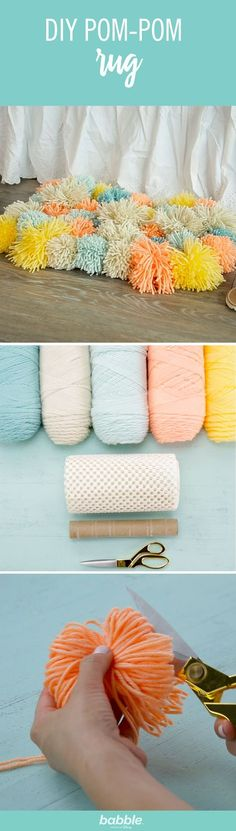 Save your old paper towel roll then grab some yarn, scissors, and a rug mat to create this simple DIY Pom-Pom Rug. Customize the colors and you'll have the perfect accent for your floor. This rug is s (Diy Pillows Pom Pom) Diy Pom Pom Rug, Pom Pom Crafts, Yarn Crafts, Diy And Crafts, Pom Poms, Towel Crafts, Diy Décoration, Easy Diy, Simple Diy