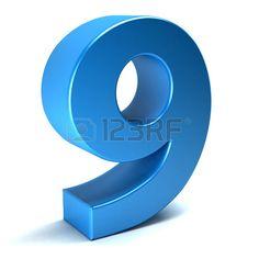 Number Nine 9 color blue icon. 3D rendring illustration