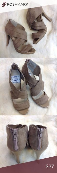 """NINE WEST Heels Pu13 😍😍These cross-cross wrap heels are a beige-sand color, all leather and suede! Patent trim and 4.5"""" heel with zipper on back! Ross tag still on, not willing to peel it off myself! ***NEW WITH TAGS! -Very thin layer of glue from manufacturer is on zipper making it hard to zip! But hey they won't fall off;) Small layer of slip-stop on sole came off. Nine West Shoes Heels"""