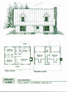 Rio Grande II : Appalachian Log & Timber Homes - Rustic Design for Contemporary Living. Log Cabin House Plans, House Plan With Loft, Log Cabin Kits, Log Cabin Homes, Log Cabins, Mountain Cabins, Loft Floor Plans, Log Home Floor Plans, Cottage Floor Plans