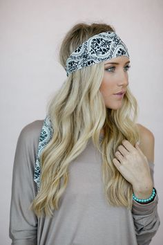 Cute Headscarf, Pattern Dolly Bow Headband, Printed Bandana, Hair Accessory, Printed Head Wrap in Black and White (HB-3723) on Etsy, $18.00