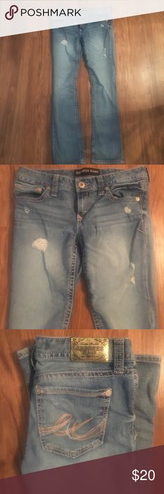 Express Jeans Barely boot cut low rise Express jeans in size 4 short. Super flattering and trendy. Great condition! Express Jeans Boot Cut