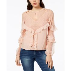 Guess Juniper Ruffled Lace Blouse ($79) ❤ liked on Polyvore featuring tops, blouses, evening sand, holiday blouses, pink top, ruffle blouse, special occasion blouses and frilly blouse