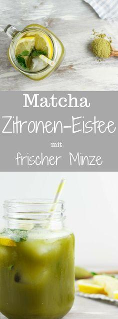 Matcha-Zitronen Eistee Mit Einer Prise Frischer Minze