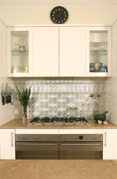 pressed metal tiles as splashback. could this work in the bathroom? and where do I get them from? - Yes, I know - the States!