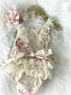 2260c66460e Kryssi Kouture Exclusive Girls Hazel Ruffled Lace and Vintage Floral Romper
